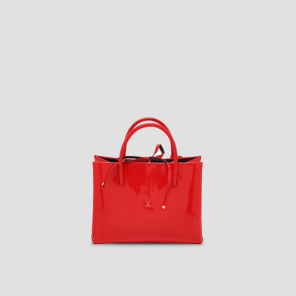 Stacey Tote Medium Patent Lipstick Red