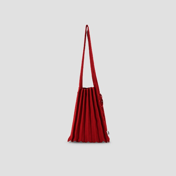 Lucky Pleats Knit M Crimson Red