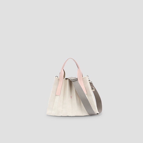 Lucky Pleats Canvas S Ivory_Cloud Pink(+Webbing Strap)