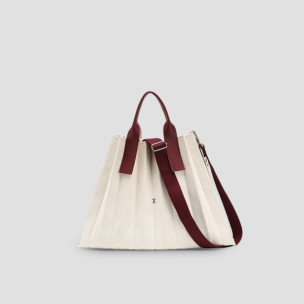 Lucky Pleats Canvas Ivory_Russet Brown(+Webbing Strap)
