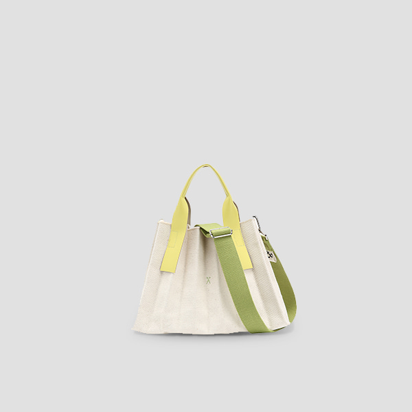 Lucky Pleats Canvas S Ivory_Lime(+Webbing Strap)