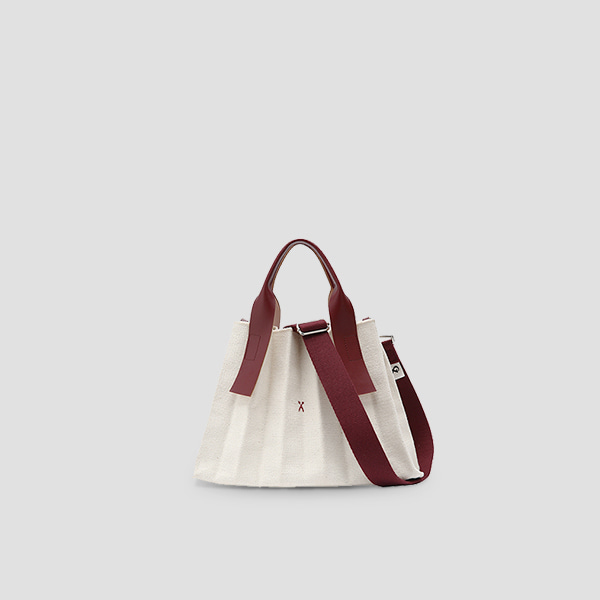 Lucky Pleats Canvas S Ivory_Russet Brown (+Webbing Strap)