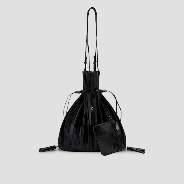 Lucky Pleats Shopper Cracked Black