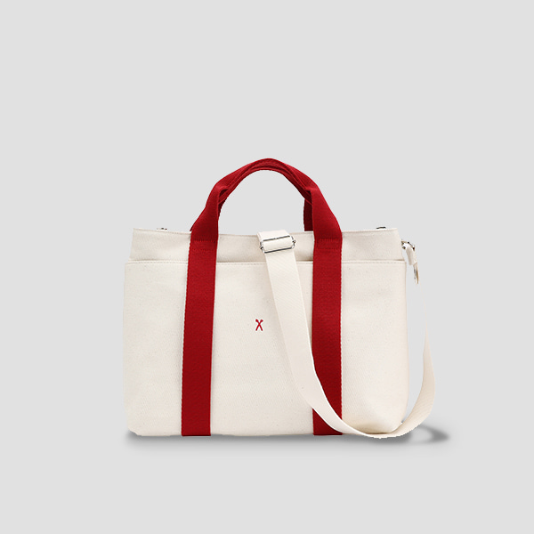 [에이프릴 나은/김보라 착용]Stacey Daytrip Tote Canvas M Ivory(Red)(+Webbing Strap)