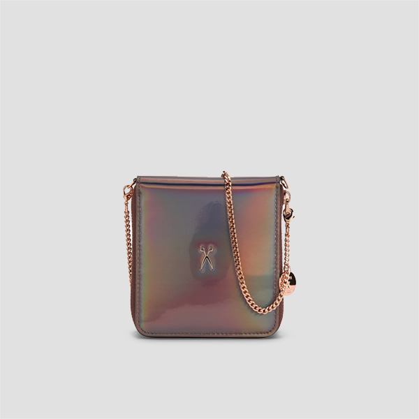 Easypass OZ Wallet Bolt Mirror Brown(+Rose Gold Chain)