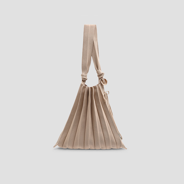 Lucky Pleats Knit M Half & Half Beige